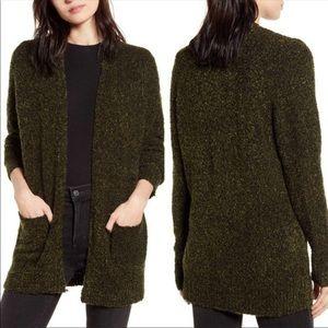 NWT BP Boucle Dark Olive Green Cardigan Sweater